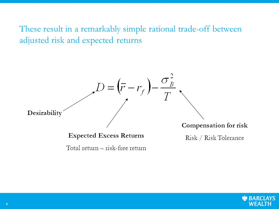 8 These result in a remarkably simple rational trade-off between adjusted risk and expected returns Desirability Expected Excess Returns Total return – risk-free return Compensation for risk Risk / Risk Tolerance
