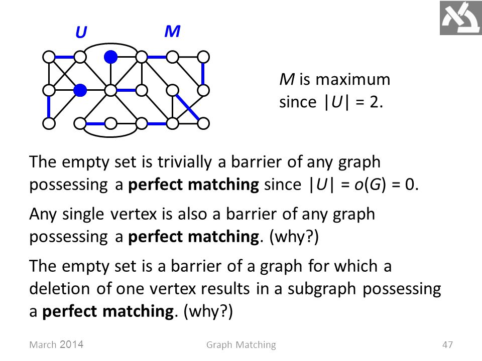 March 2014Graph Matching47 M U M is maximum since |U| = 2. The empty set is trivially a barrier of any graph possessing a perfect matching since |U| =
