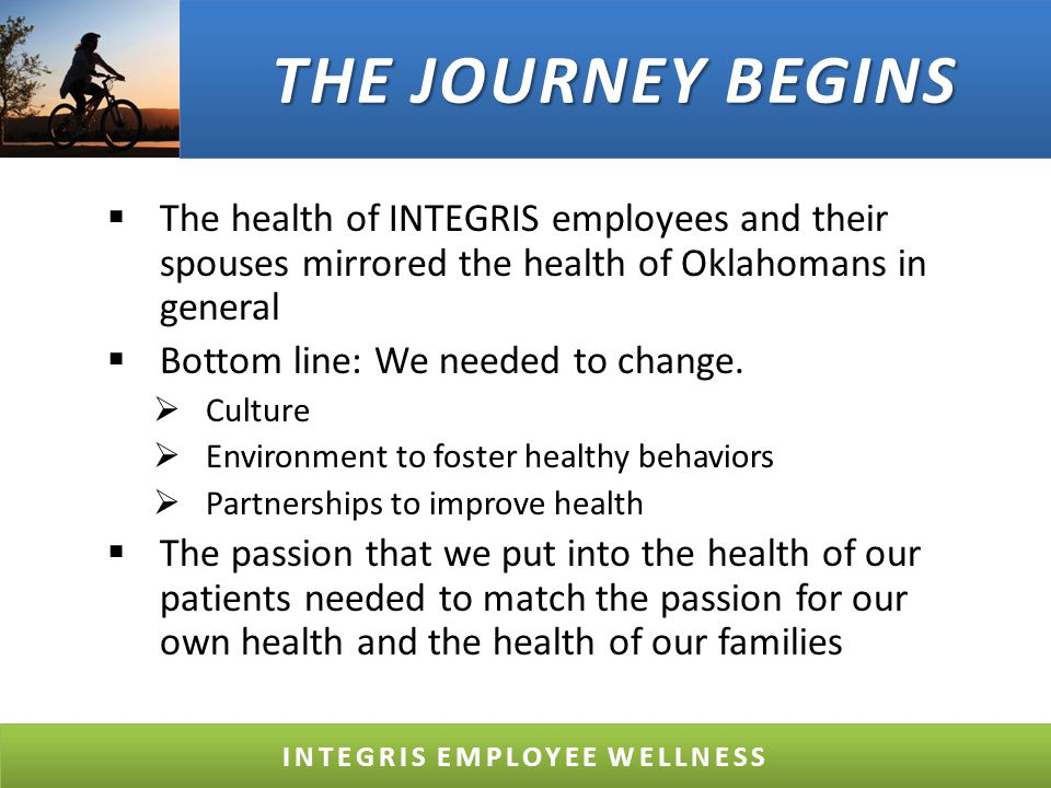 BUSINESS CRITERIA Preventive Health Screenings Health Education Physical Activity Tobacco Use Prevention Healthy Food Options Management Support for Health & Safety Role of Business in Community Health Wellness Policy in the Workplace Behavioral Health Options in the Workplace INTEGRIS EMPLOYEE WELLNESS