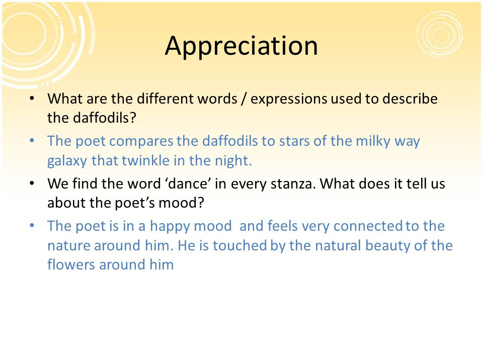 Appreciation What are the different words / expressions used to describe the daffodils.