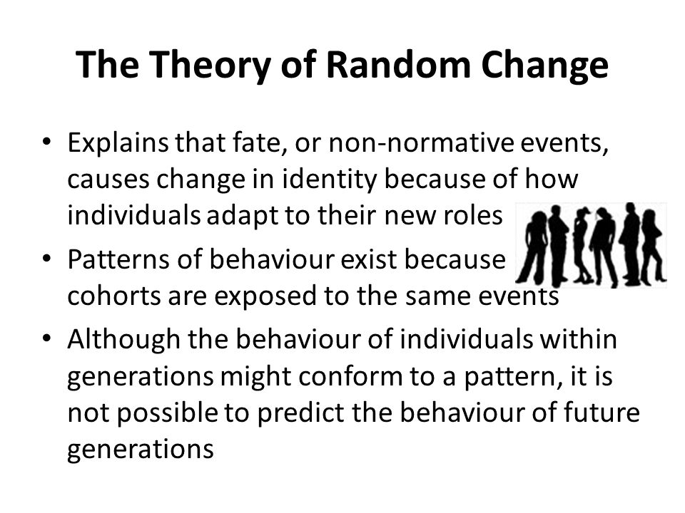 The Theory of Random Change Explains that fate, or non-normative events, causes change in identity because of how individuals adapt to their new roles Patterns of behaviour exist because cohorts are exposed to the same events Although the behaviour of individuals within generations might conform to a pattern, it is not possible to predict the behaviour of future generations