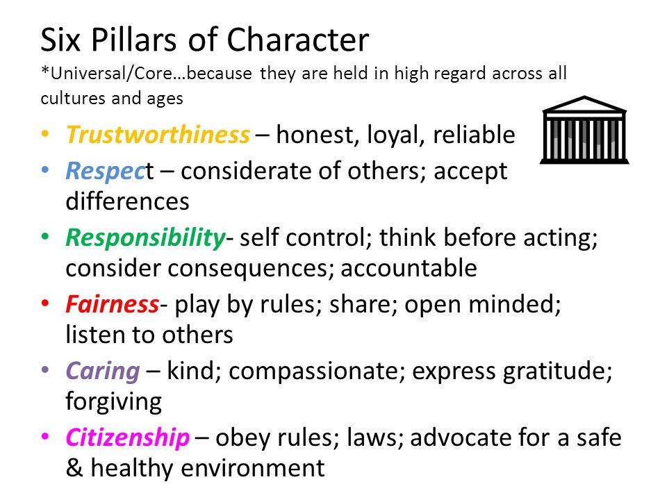 Trustworthiness – honest, loyal, reliable Respect – considerate of others; accept differences Responsibility- self control; think before acting; consi