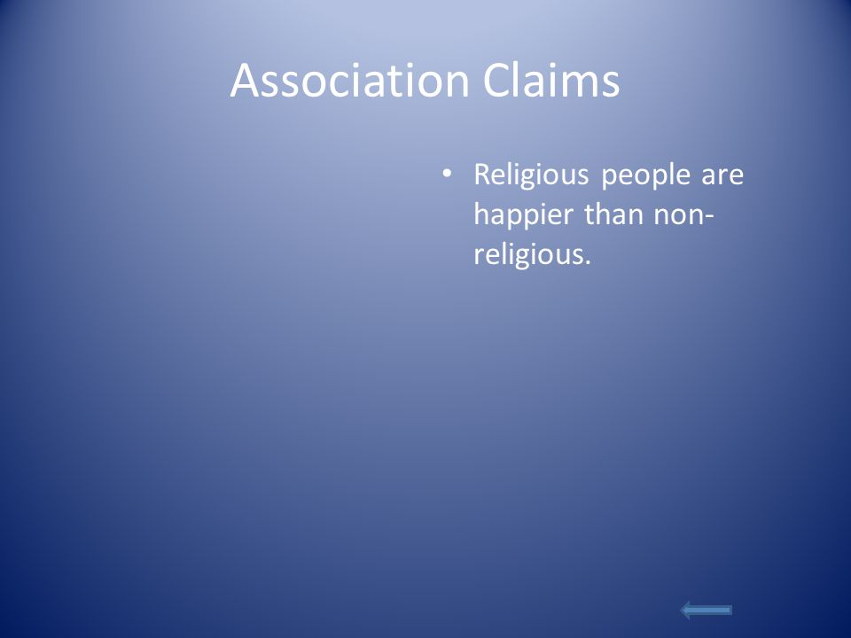 Association Claims Religious people are happier than non- religious.
