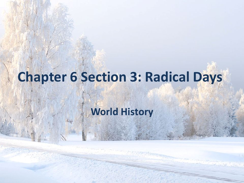 Chapter 6 Section 3: Radical Days World History