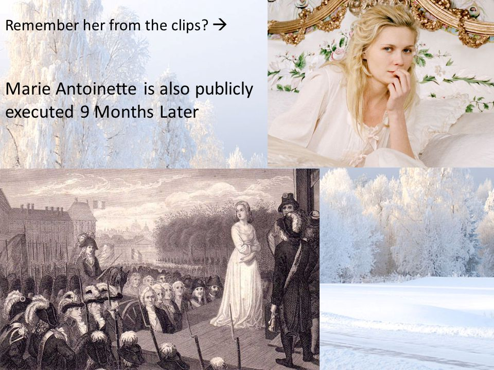 Remember her from the clips  Marie Antoinette is also publicly executed 9 Months Later