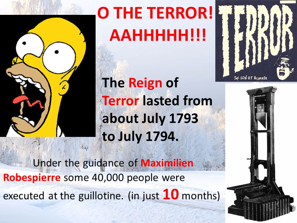 O THE TERROR! Under the guidance of Maximilien Robespierre some 40,000 people were executed at the guillotine. (in just 10 months) The Reign of Terror