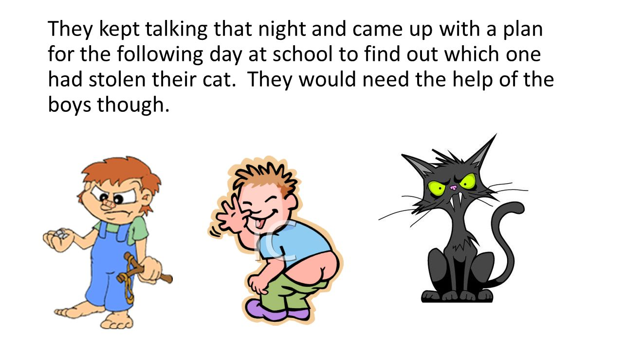 They kept talking that night and came up with a plan for the following day at school to find out which one had stolen their cat. They would need the h