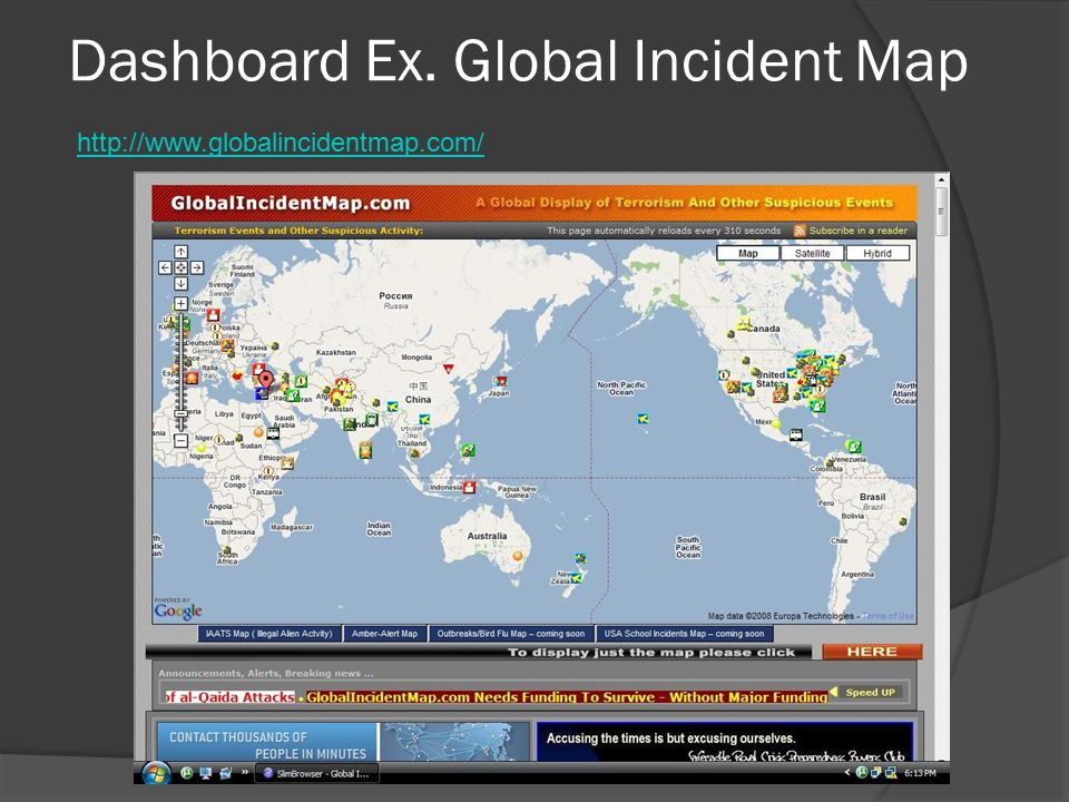 Dashboard Ex. Global Incident Map http://www.globalincidentmap.com/