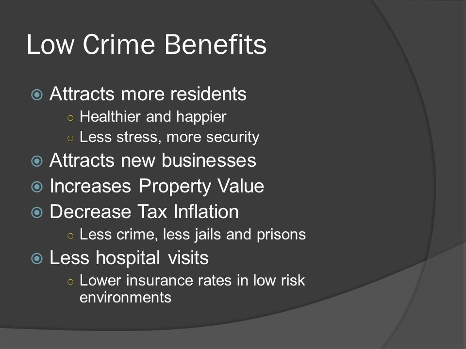 Low Crime Benefits  Attracts more residents ○ Healthier and happier ○ Less stress, more security  Attracts new businesses  Increases Property Value  Decrease Tax Inflation ○ Less crime, less jails and prisons  Less hospital visits ○ Lower insurance rates in low risk environments