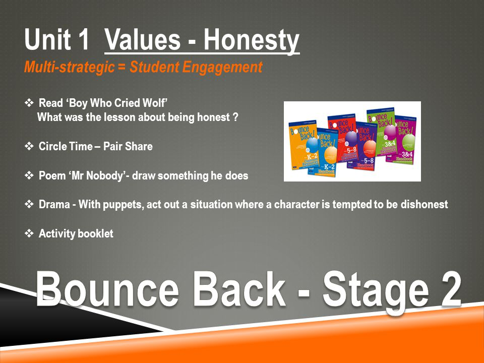 Unit 1 Values - Honesty Multi-strategic = Student Engagement  Read 'Boy Who Cried Wolf' What was the lesson about being honest .