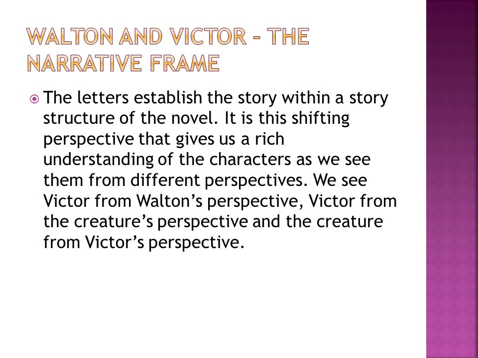  The letters establish the story within a story structure of the novel.