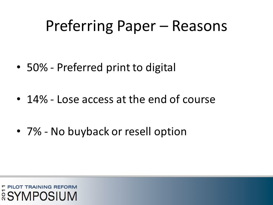Preferring Paper – Reasons 50% - Preferred print to digital 14% - Lose access at the end of course 7% - No buyback or resell option