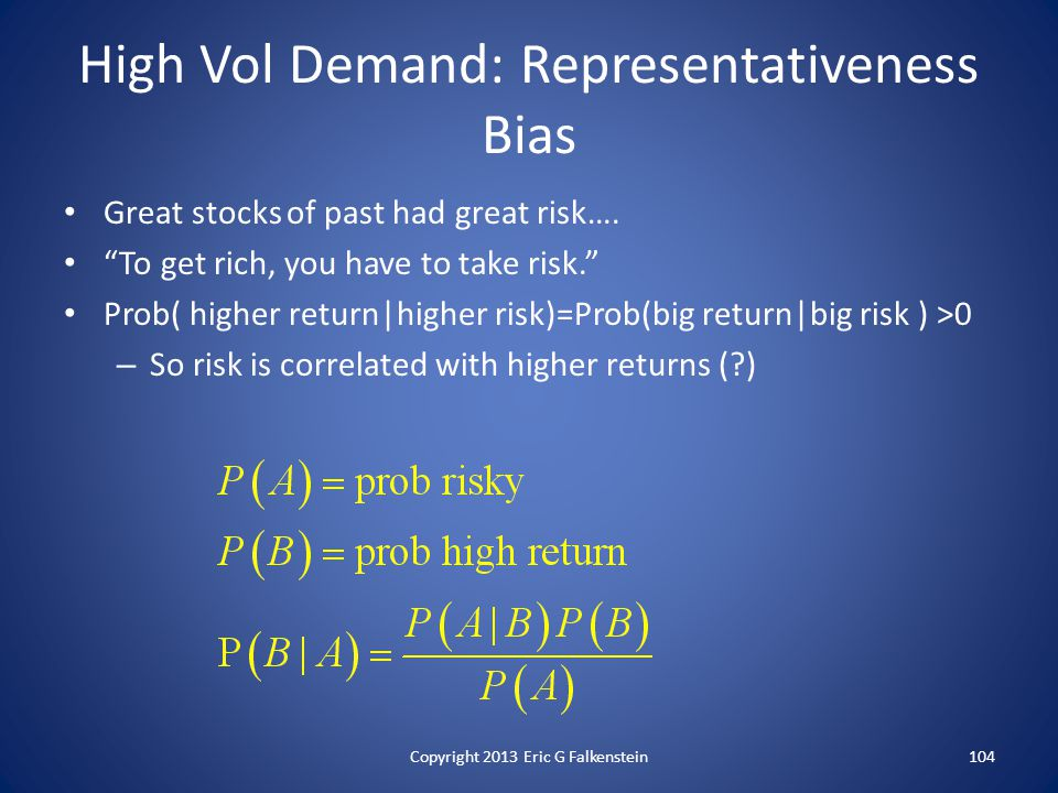 High Vol Demand: Representativeness Bias Great stocks of past had great risk….