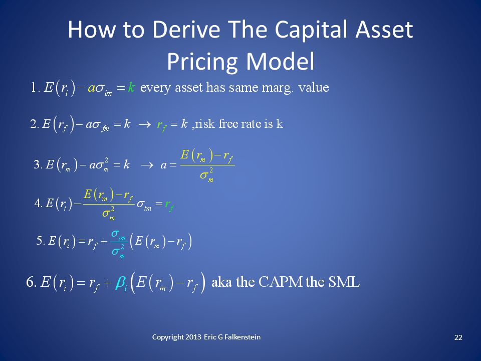 22 Copyright 2013 Eric G Falkenstein How to Derive The Capital Asset Pricing Model