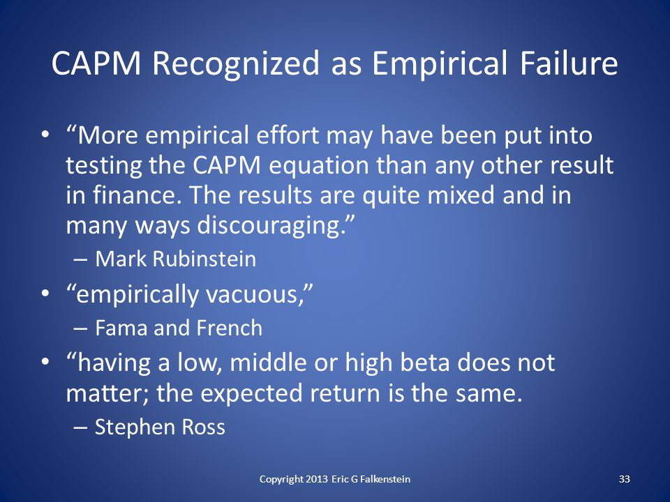 CAPM Recognized as Empirical Failure More empirical effort may have been put into testing the CAPM equation than any other result in finance.