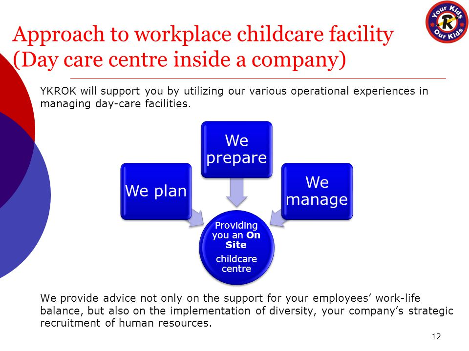 Approach to workplace childcare facility (Day care centre inside a company) YKROK will support you by utilizing our various operational experiences in managing day-care facilities.