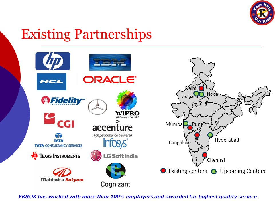 Existing Partnerships 3 Delhi MumbaiPune Bangalore Chennai Hyderabad Existing centersUpcoming Centers Noida Gurgaon YKROK has worked with more than 100's employers and awarded for highest quality service