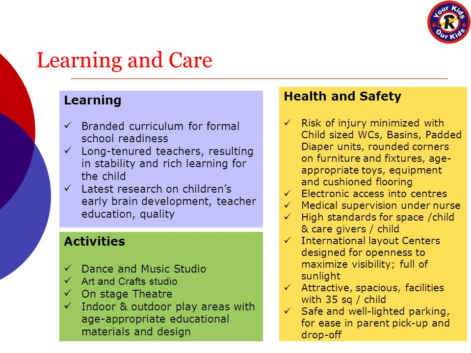 Learning and Care Learning Branded curriculum for formal school readiness Long-tenured teachers, resulting in stability and rich learning for the child Latest research on children's early brain development, teacher education, quality Activities Dance and Music Studio Art and Crafts studio On stage Theatre Indoor & outdoor play areas with age-appropriate educational materials and design Health and Safety Risk of injury minimized with Child sized WCs, Basins, Padded Diaper units, rounded corners on furniture and fixtures, age- appropriate toys, equipment and cushioned flooring Electronic access into centres Medical supervision under nurse High standards for space /child & care givers / child International layout Centers designed for openness to maximize visibility; full of sunlight Attractive, spacious, facilities with 35 sq / child Safe and well-lighted parking, for ease in parent pick-up and drop-off