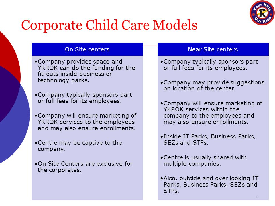 Corporate Child Care Models 9 On Site centers Company provides space and YKROK can do the funding for the fit-outs inside business or technology parks.