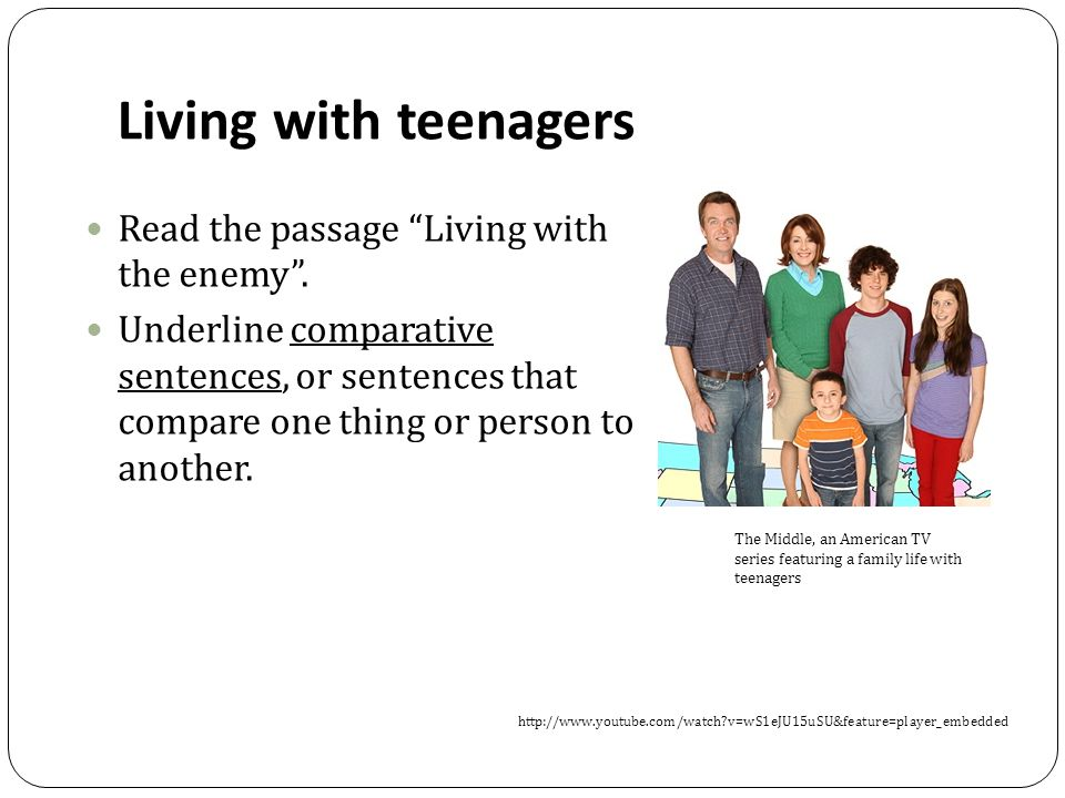 Living with teenagers Read the passage Living with the enemy .