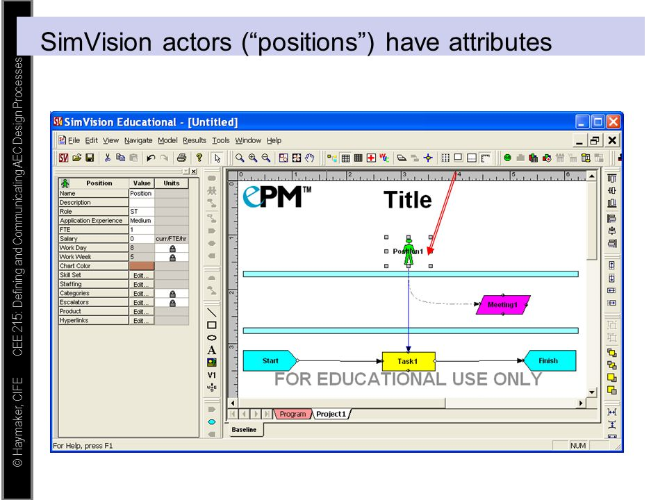 """© Haymaker, CIFE CEE 215: Defining and Communicating AEC Design Processes SimVision actors (""""positions"""") have attributes"""
