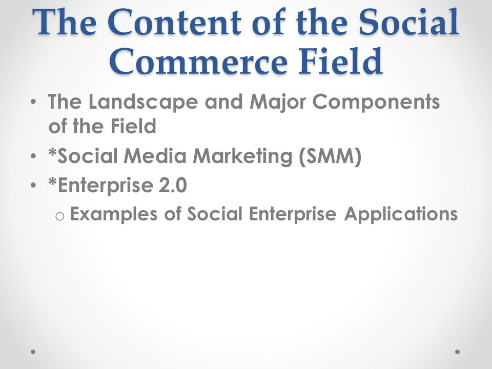 The Content of the Social Commerce Field The Landscape and Major Components of the Field *Social Media Marketing (SMM) *Enterprise 2.0 o Examples of S