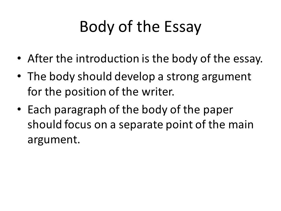 Body of the Essay After the introduction is the body of the essay. The body should develop a strong argument for the position of the writer. Each para