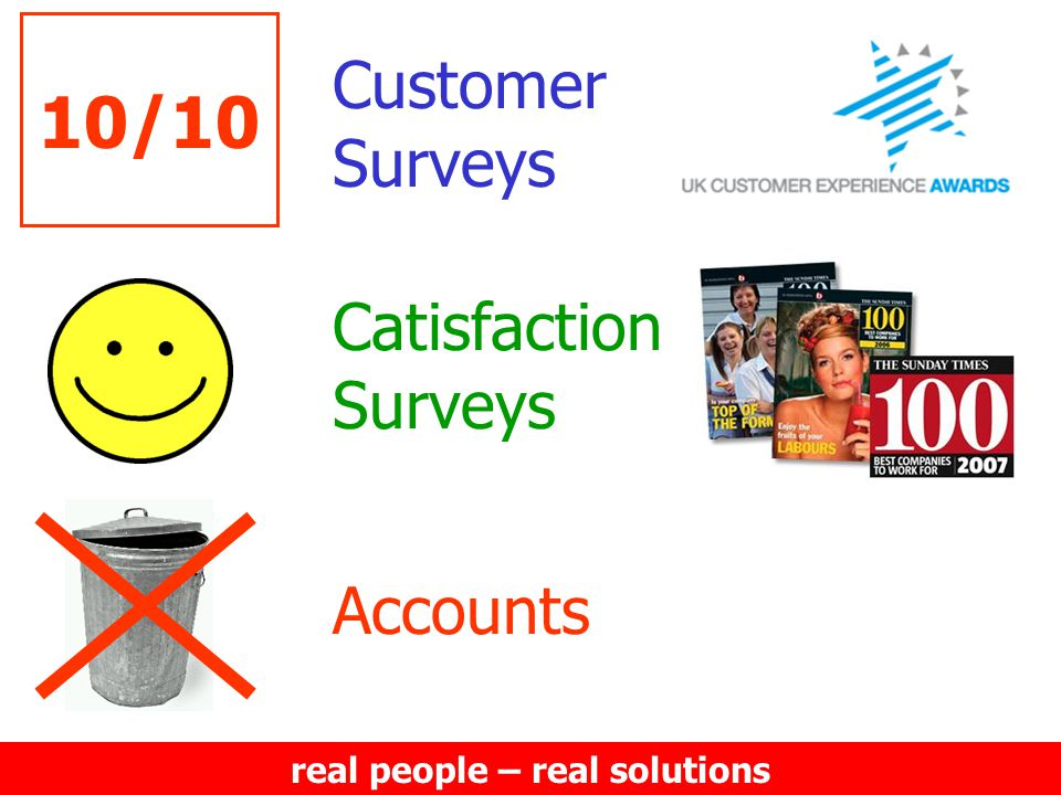 real people – real solutions 10/10 Customer Surveys Catisfaction Surveys Accounts