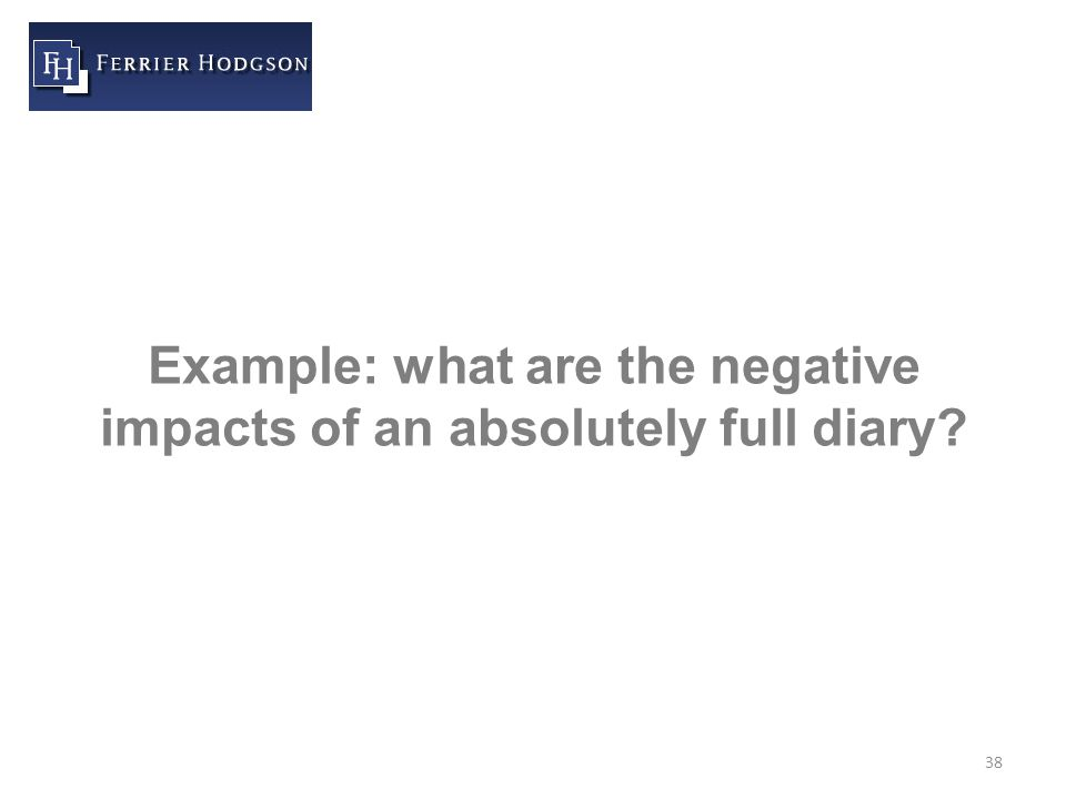 38 Example: what are the negative impacts of an absolutely full diary
