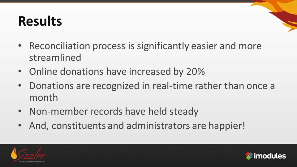 Results Reconciliation process is significantly easier and more streamlined Online donations have increased by 20% Donations are recognized in real-time rather than once a month Non-member records have held steady And, constituents and administrators are happier!