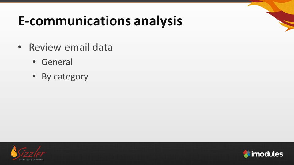 E-communications analysis Review email data General By category