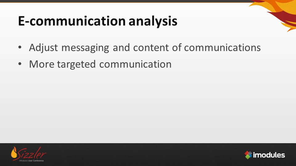E-communication analysis Adjust messaging and content of communications More targeted communication