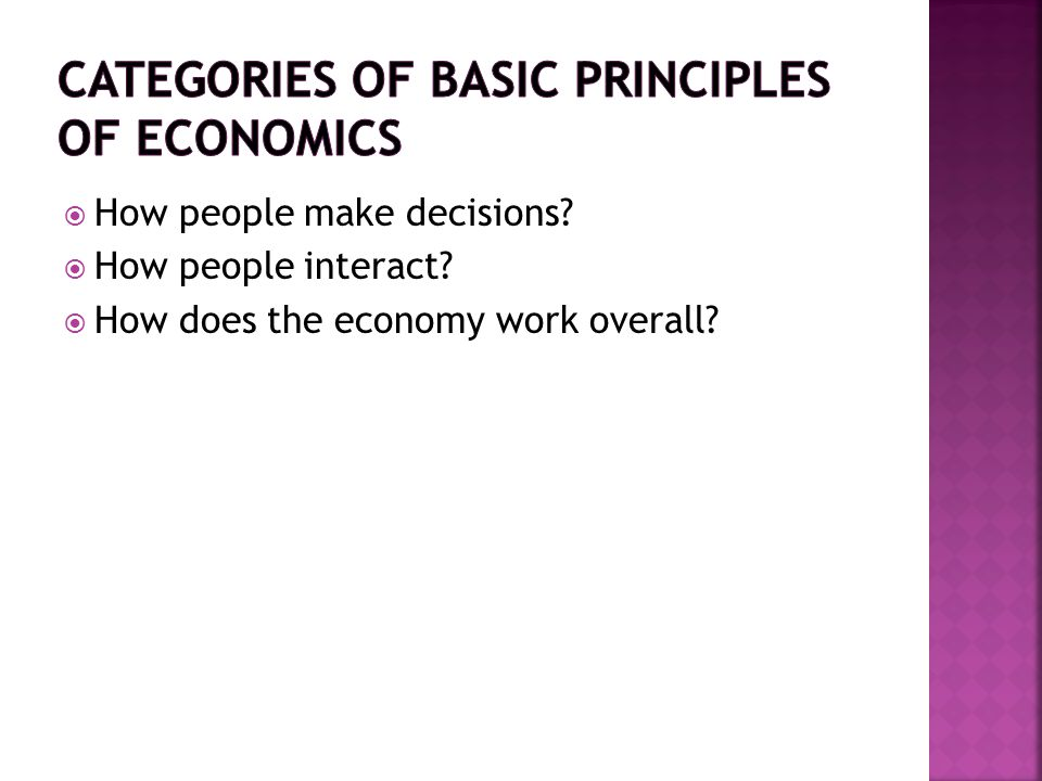  How people make decisions?  How people interact?  How does the economy work overall?