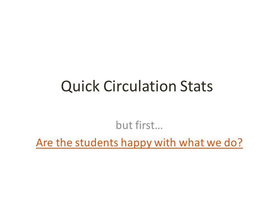 Quick Circulation Stats but first… Are the students happy with what we do