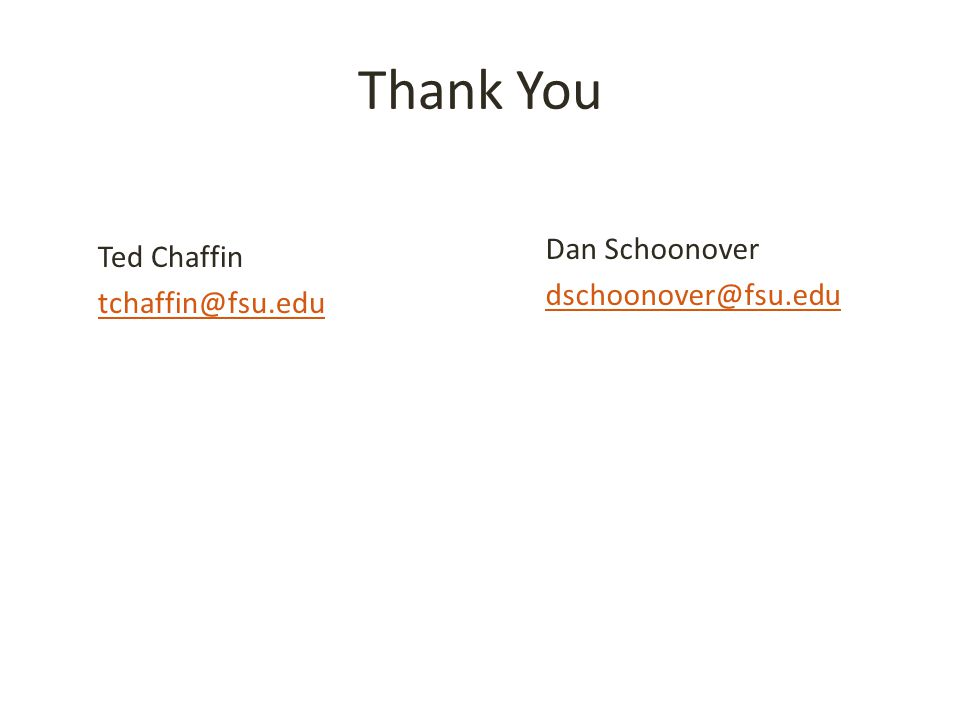 Thank You Ted Chaffin tchaffin@fsu.edu Dan Schoonover dschoonover@fsu.edu