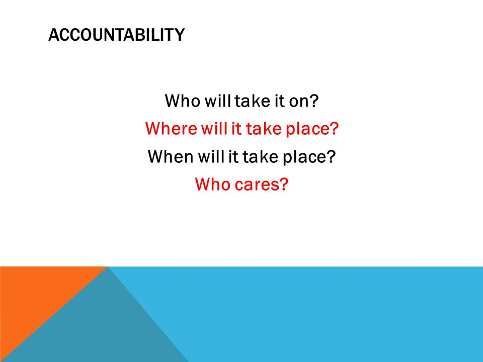 ACCOUNTABILITY Who will take it on? Where will it take place? When will it take place? Who cares?