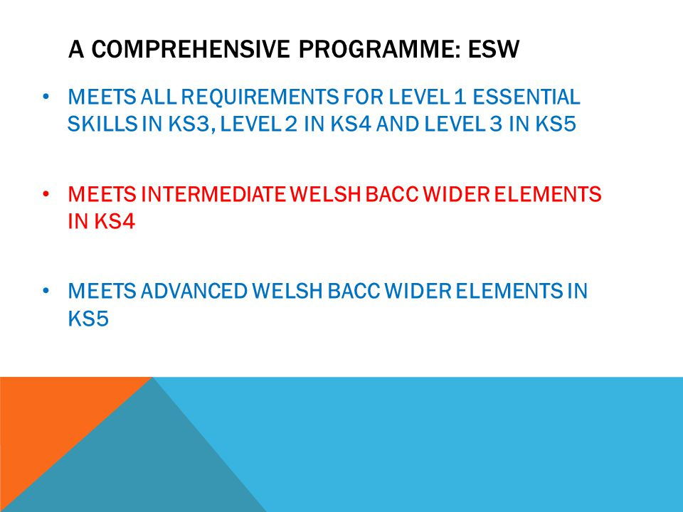 A COMPREHENSIVE PROGRAMME: ESW MEETS ALL REQUIREMENTS FOR LEVEL 1 ESSENTIAL SKILLS IN KS3, LEVEL 2 IN KS4 AND LEVEL 3 IN KS5 MEETS INTERMEDIATE WELSH BACC WIDER ELEMENTS IN KS4 MEETS ADVANCED WELSH BACC WIDER ELEMENTS IN KS5
