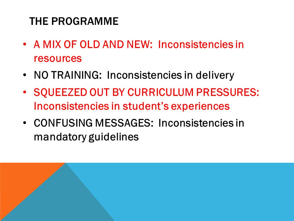 THE PROGRAMME A MIX OF OLD AND NEW: Inconsistencies in resources NO TRAINING: Inconsistencies in delivery SQUEEZED OUT BY CURRICULUM PRESSURES: Inconsistencies in student's experiences CONFUSING MESSAGES: Inconsistencies in mandatory guidelines