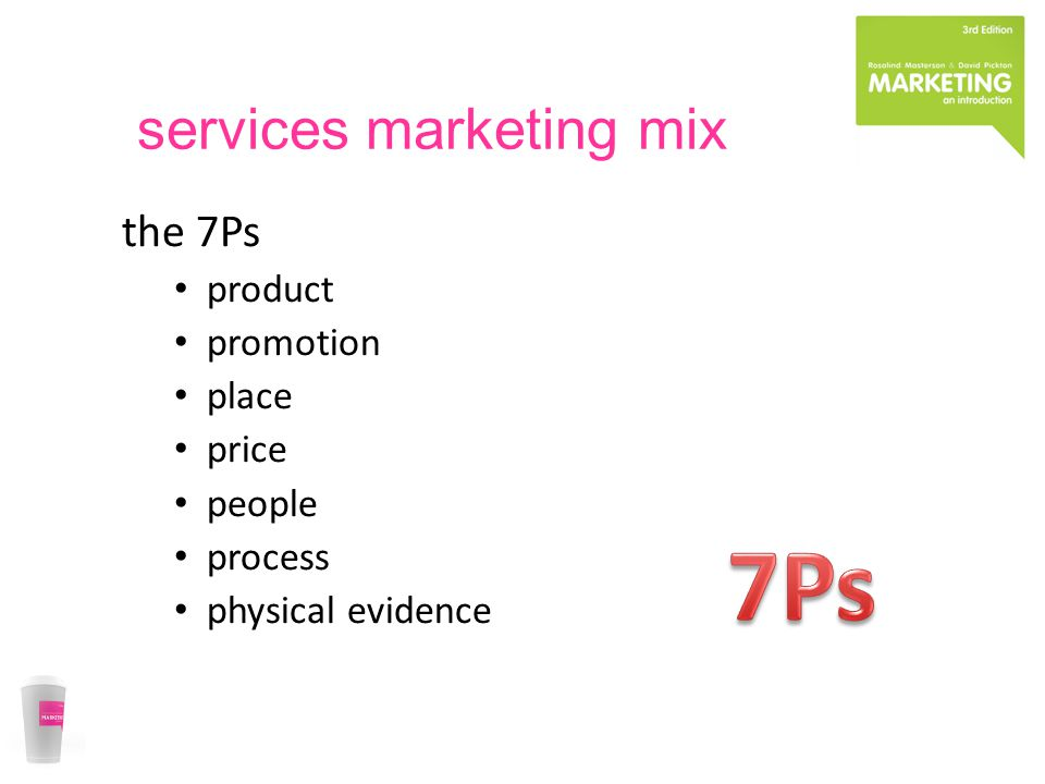 services marketing mix the 7Ps product promotion place price people process physical evidence