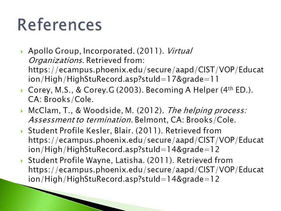  Apollo Group, Incorporated. (2011). Virtual Organizations.