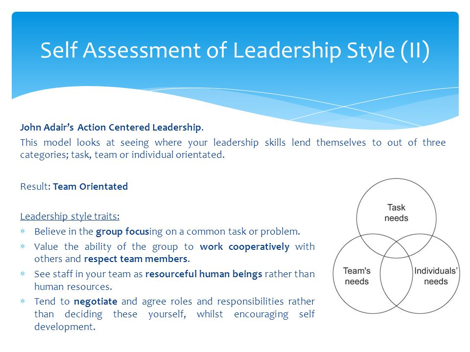John Adair's Action Centered Leadership. This model looks at seeing where your leadership skills lend themselves to out of three categories; task, tea