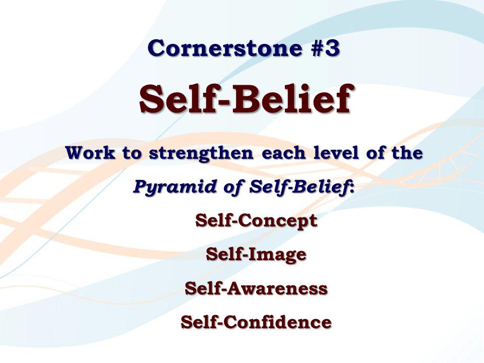 Cornerstone #3 Self-Belief Work to strengthen each level of the Pyramid of Self-Belief : Self-ConceptSelf-ImageSelf-AwarenessSelf-Confidence