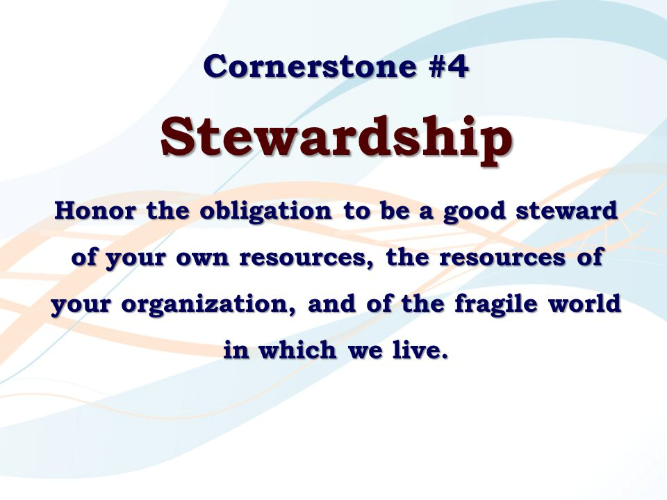 Cornerstone #4 Stewardship Honor the obligation to be a good steward of your own resources, the resources of your organization, and of the fragile wor