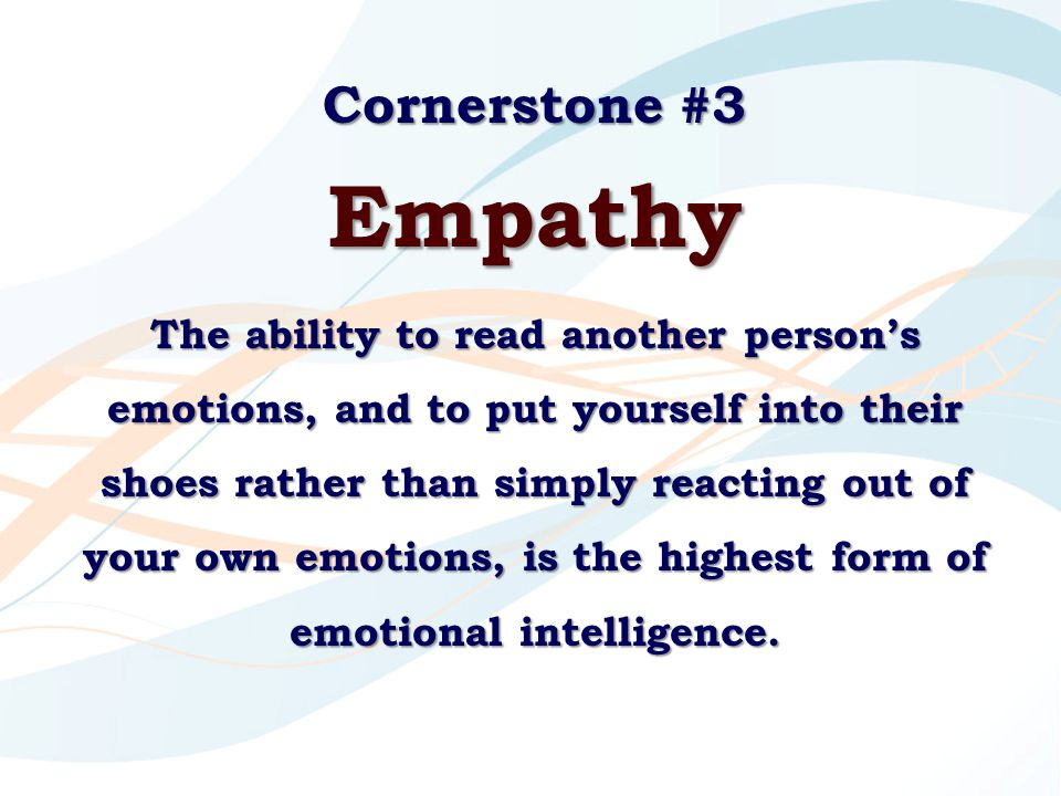 Cornerstone #3 Empathy The ability to read another person's emotions, and to put yourself into their shoes rather than simply reacting out of your own