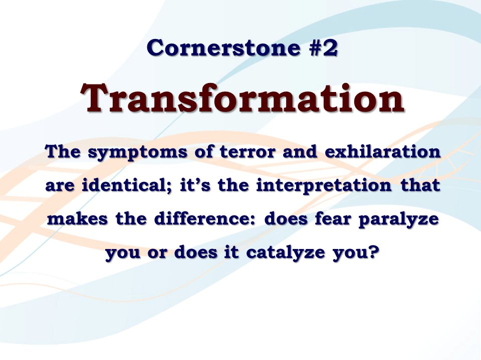 Cornerstone #2 Transformation The symptoms of terror and exhilaration are identical; it's the interpretation that makes the difference: does fear para