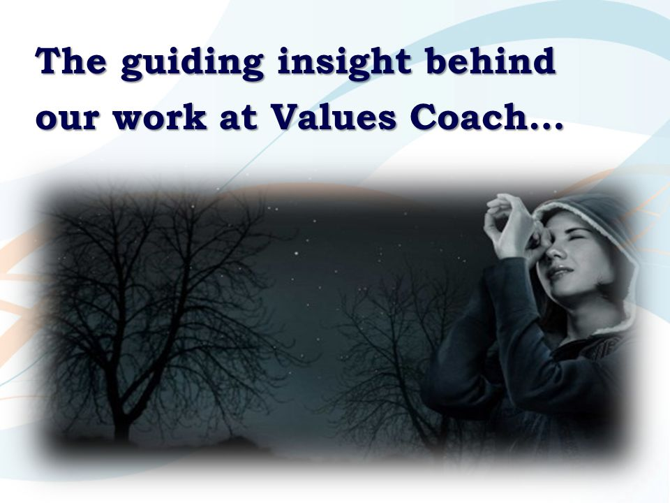 The guiding insight behind our work at Values Coach…