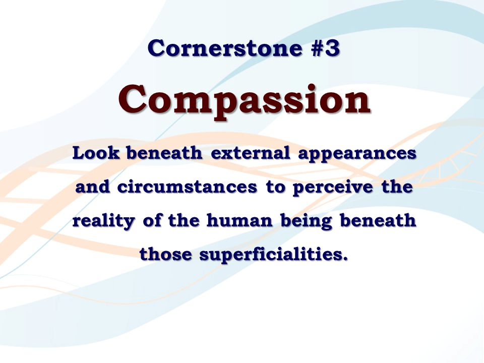 Cornerstone #3 Compassion Look beneath external appearances and circumstances to perceive the reality of the human being beneath those superficialitie