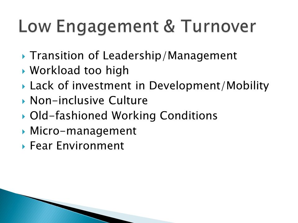  Transition of Leadership/Management  Workload too high  Lack of investment in Development/Mobility  Non-inclusive Culture  Old-fashioned Working Conditions  Micro-management  Fear Environment