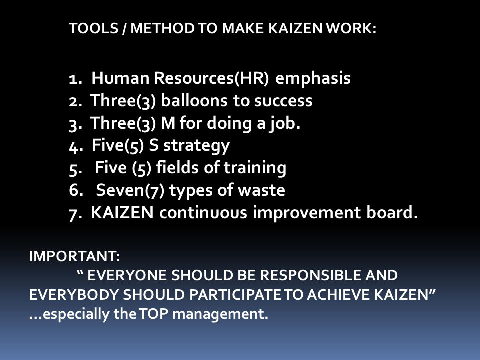 KAIZEN Is a Japanese word which means… - Change for better. - quest for continuous improvement.