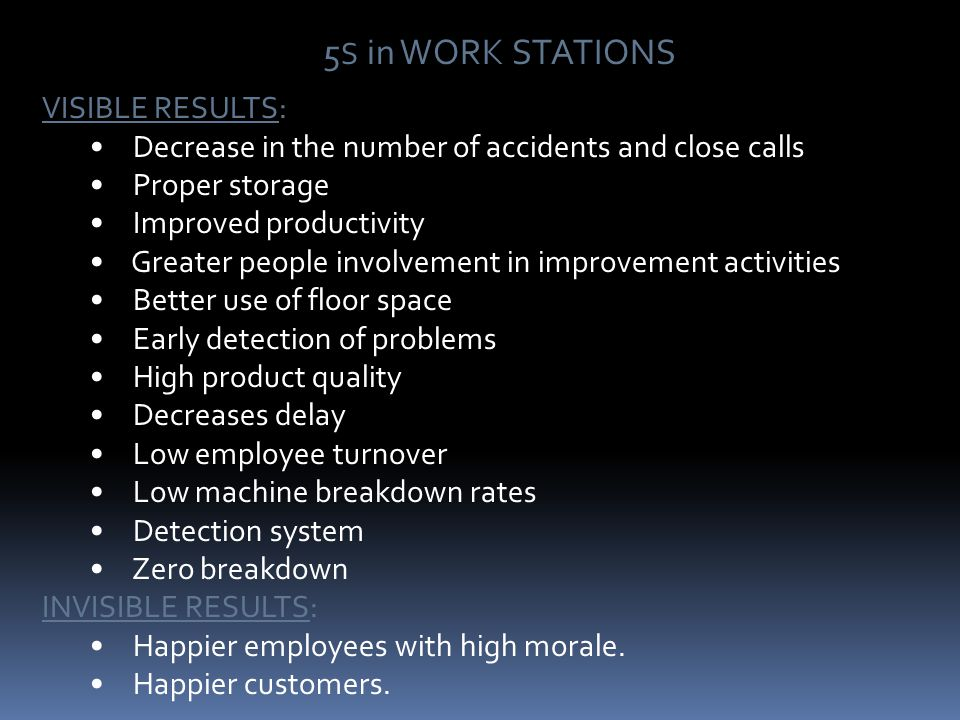 BENEFITS OF 5S A clean and organized workplace..…. A clean and organized workplace..…. High in PRODUCTIVITY High in PRODUCTIVITY Produces QUALITY prod